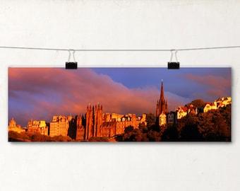 Edinburgh Panoramic Photo, Sunset Colors, Glolden Glow, Architecture