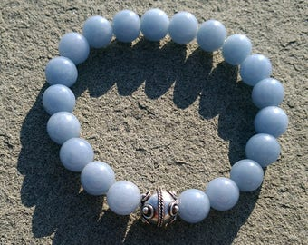 ANGELITE Blue Stone Bracelet Sterling silver stretchy bracelet. Energy: Emotional Protection-Anxiety healing-Learning faculties enhancement