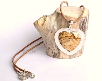 dbef5ac3b Silver Heart Pendant Picture JASPER Stone, Handmade Necklace and Pendant,  Genuine Not-treated Leather - Base Chakra Energizer crystal