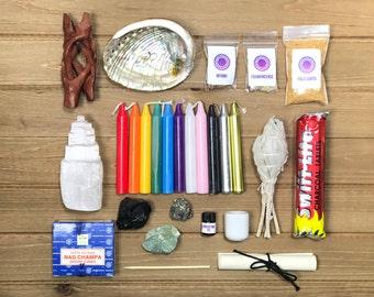 Altar Gift Box - Candle Magick, Crystal Gift Box, Selenite, Sage, Incense, Resin