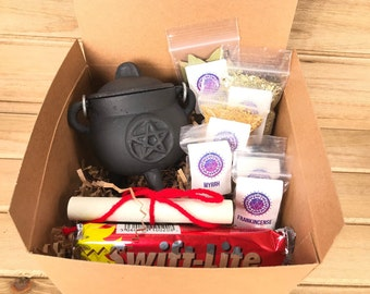 "Cauldron Gift Box - Cast Iron Cauldron Set, 2.75"", Frankincense, Myrrh, Palo Santo, Copal, Bay Leaves, Charcoal, Pentagram"