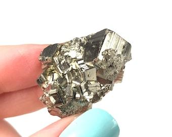 Pyrite Crystal - Enhance Willpower & Abundance, Assertiveness, , Solar Plexus Chakra, Overcome Habits (Spain)