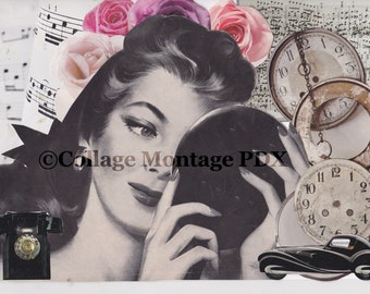 """Vintage woman """"Time For Vanity"""" Photo Collage Art Greeting Card Blank Inside"""