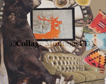 "Cabin Fever ""Hibernation"" Bear & Deer Photo Collage Art Greeting Card Blank Inside"
