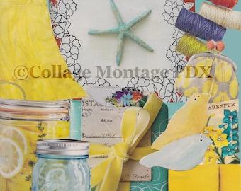 "Yellow & Blue ""Larkspur"" Photo Collage Art Greeting Card Blank Inside"