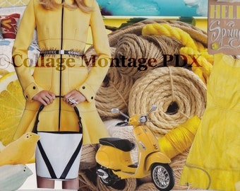 """Yellow """"Hello Spring!"""" Photo Collage Art Greeting Card Blank Inside"""