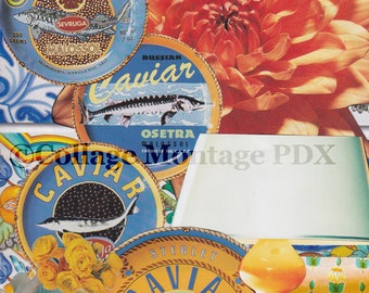 """Bright Orange & Blue """"If Wishes Were Caviar"""" Photo Collage Art Greeting Card Blank Inside"""