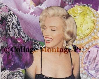 "Vintage Pinup Model ""Some like it Violet"" Photo Collage Art Greeting Card Blank Inside"