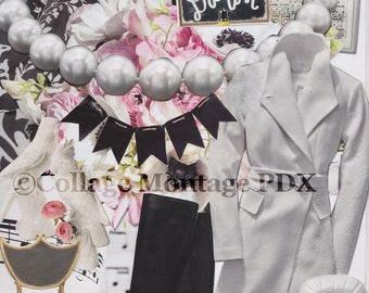 "Black, White & Pink ""Hi Felicia"" Photo Collage Art Greeting Card Blank Inside"