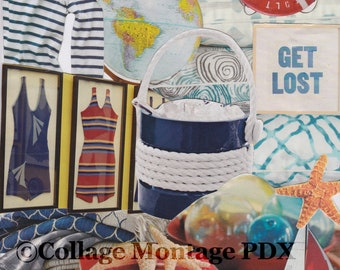 """Nautical """"Get Lost"""" Photo Collage Art Greeting Card Blank Inside"""