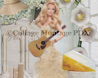 """Guitar Playing Barbie """"All Dolled Up"""" Photo Collage Art Greeting Card Blank Inside"""