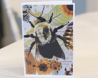 "Sweet Honey Bee ""The Bee's Knees"" Photo Collage Art Greeting Card Blank Inside"