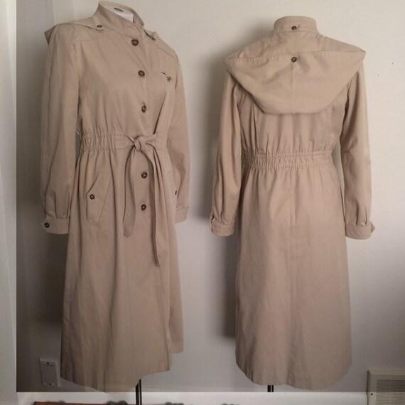 Raincoat hood cotton long trench spring coat cream