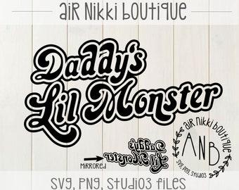 Daddy S Little Monster Svg Etsy