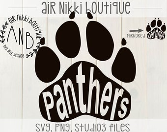 Panthers Paw Print SVG, PNG, DXF, studio3, mirrored png files, instant download