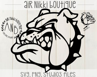 Bulldog SVG, PNG, Mirrored PNG, Studio 3 files, instant download