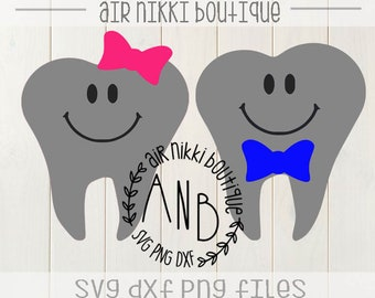 Boy and Girl tooth fairy Pack, SVG, PNG, DXF files, instant download