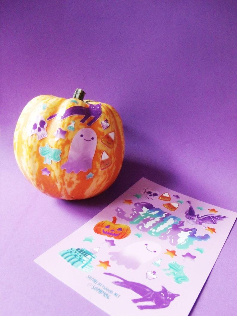 witch ghost cat bats skull Halloween Stickers 5 Sheets : Pumpkin Dracula
