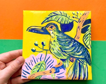 Tropical Bird Square Canvas Painting