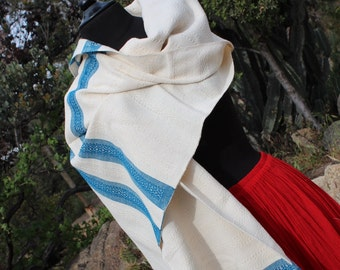 100% Cotton Mexican Scarf (Rebozo) with Colorful Trim-All Natural Fiber-Baby Carier-Sifling for Childbirth-Doula-Rebozo Mexicano-Labor-Birth