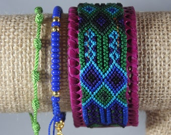 Handmade Woven Glass Bead Leather Bracelet Stack (Set Of 3) Boho-Mexican Friendship-Party Favors Fiesta Mexicana-Festival-Rave-Frida 212