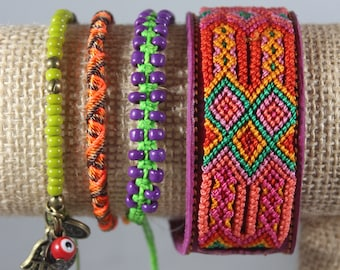 Handmade Woven Glass Bead Leather Bracelet Stack (Set Of 4) Boho-Mexican Friendship-Party Favors Fiesta Mexicana-Festival-Rave-Frida 208
