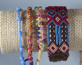 Handmade Woven Glass Bead Leather Bracelet Stack (Set Of 4) Boho-Mexican Friendship-Party Favors Fiesta Mexicana-Festival-Rave-Frida 202
