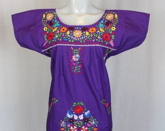 Mexican Embroidered Tunic-Embroidered by Hand-Purple (Small) BOHO Hippie-Handmade-Beautiful-Valentines Day Gift-Fiesta Mexicana-Birthday-Art
