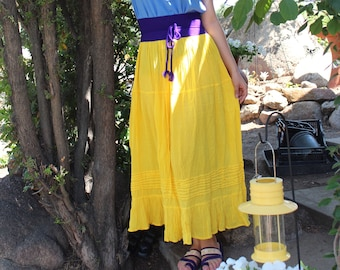 c9667e8690 Long Mexican Skirts-Faldas in different Colors 100%  Cotton-Gauze-BOHO-Yoga-Hand Dyed-Natural Fiber-Breathable-Tribal-Frida  Kahlo-Tiered-Amor