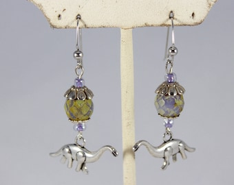 Dinosaur Glass Beaded Earrings-Jewlery-Boho-Festival Fashion-Dino-Jurassic-Fun Accessories-Brontosaurus-Charm-Gift Ideas-Trendy-Light weight
