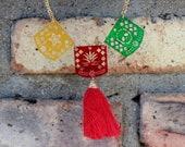 Laser Cut Handmade Papel Picado Necklace-Tassel-Chain Cutout-Fiesta-Folk Art-Party Favors-Lightweight-Frida Kahlo-Costume-Fiesta Mexicana