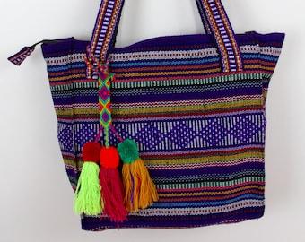 Bohemian Colorful Purse- Woven- Sarape- Baja Bags- Travel Bag- Boho- Hipster Accessories- Tote- Handbag- Pinzon- Festival- Native- Ethnic