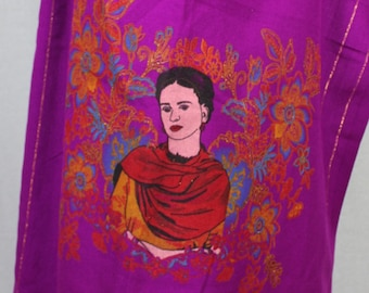 Frida Kahlo Mexican Rebozo-Purple-Screen Printed-Scarf-Colorful-Flowers-Oversized Shawl-Mexican Accessories-Folk Art-Boho-Gifts for Her
