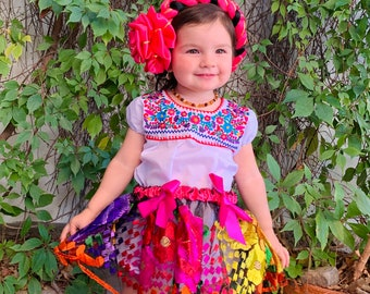 5-6 Years Colorful Baby Toddler Mexican Girls Outfit-Embroidered Flowers-Summer-Boho-Fiesta Birthday Outfit-Frida Kahlo-Cake-Folk-Bow