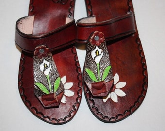 08b298d6b554 Flowers Brown Leather Mexican Shoes-Flip Flops-Sandals-Hippie-BOHO- Tribal-  Shoes- Summer