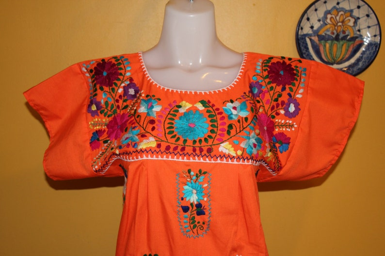 Mexican Embroidered Tunic Embroidered by Hand Orange Small