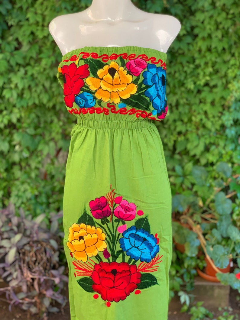 Strapless Colorful Mexican Dress Embroidered Flowers Summer-BOHO-Hippie-Frida Kahlo style Handmade Dress Floral Wedding Tube Top Fiesta