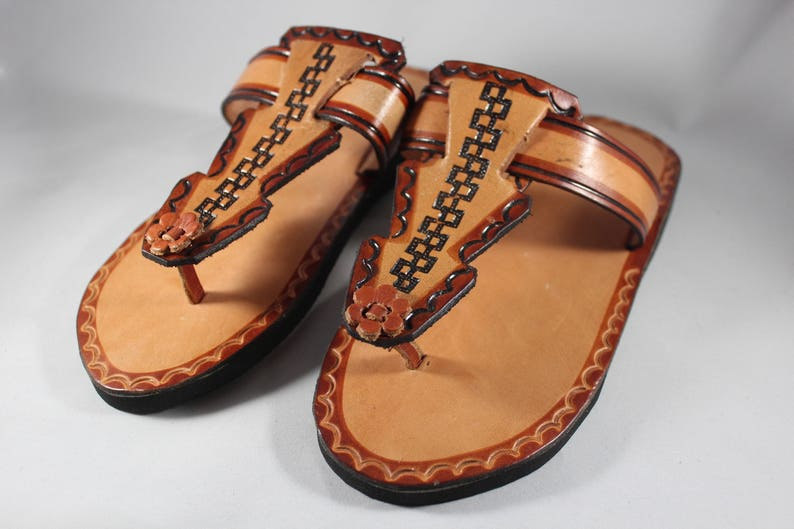 52f949880e8c Brown Leather Sandals Woman Mexican Shoes Vintage Style