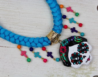 FRIDA Handmade Necklace-Choker-Sugar Skull-Woven Textile-Folk Art-Hand Painted-Charms-Braid-One of a Kind-Gift for Her-Fiesta Mexicana-COCO