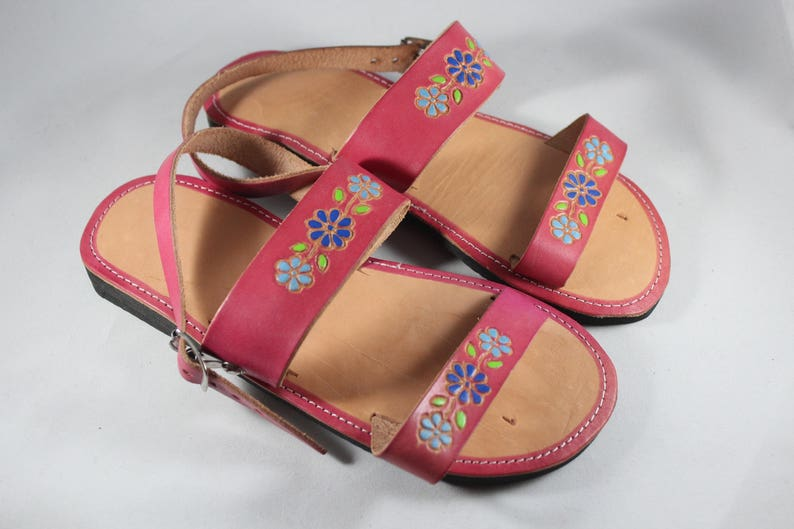 b237f4c505116 Youth Size 1.5 Pink Leather Sandals Girls Mexican Shoes