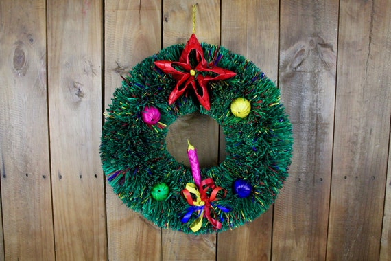 Hand Woven Palm Leaf Christmas Wreath-Handmade-Boho-Fiesta-Christmas Tree-Decor-Xmas-Gift Ideas-Holiday-Southwest-Coco-Pi\u00f1ata-Door Hanging