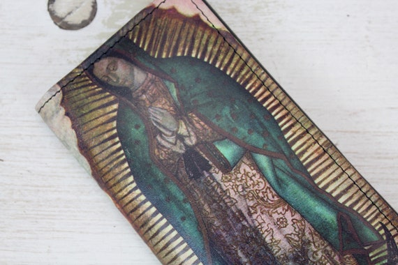La Virgencita Handmade Leather Wallet Gift Mexican Pouch Cartera Trendy Accessories Frida Kahlo Textile Ethnic Art Folk Art Gifts for her