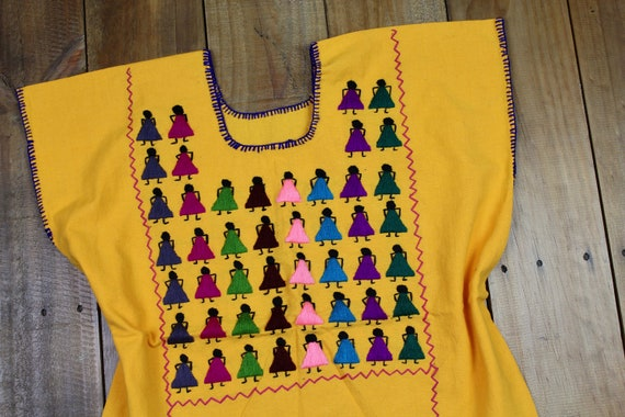 Dancing Girls Traditional Hand Embroidered Multicolor Mexican Huipil Manta Cotton-Organic-Fiesta Birthday-Wedding-festival-Statement-Folk