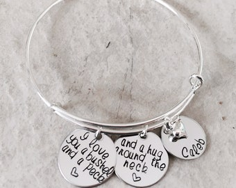 I love you a bushel and a peck and a hug around the neck personalized bangle bracelet gift for mom gift for grandma mothers day Christmas