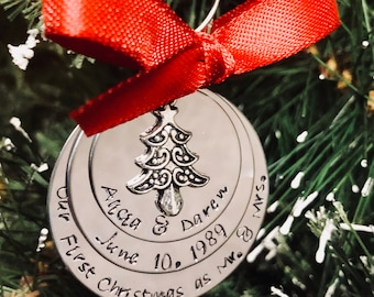 Sale! Personalized first Christmas as mr and Mrs custom wedding ornament wedding date first Christmas tree charm engagement she said yes