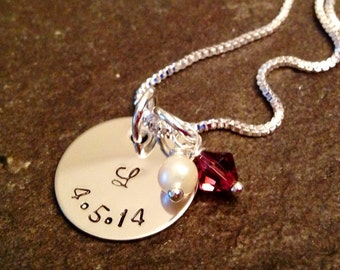 Hand stamped personalized necklace with initial freshwater pearl and birthstone bridesmaids wedding