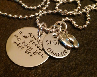 Always and Forever ny baby you'll be hand stamped personalzied necklace with feet charm