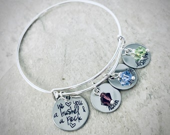 We love you a bushel and a peck personalized bangle bracelet with kids names birthstone gift for mom mothers day gift monogrammed mothers