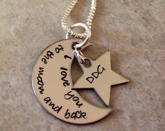 SALE Personalized I Love You To The Moon & Back necklace hand stamped with star charm moon necklace star I love you to the moon and back