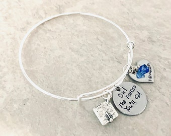 Oh the places you'll go custom bangle bracelet personalized bracelet personalized graduation gift graduation jewelry high school gradution